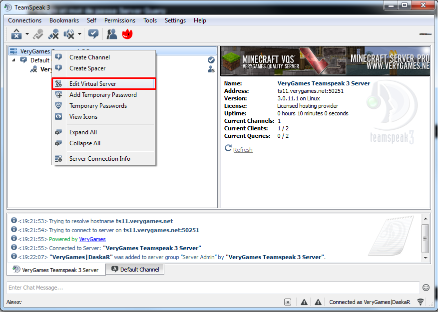 Edit virtual serveur